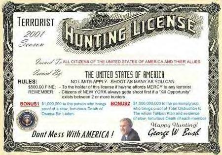 The manbottle library osama hunting license for Where to buy texas fishing license